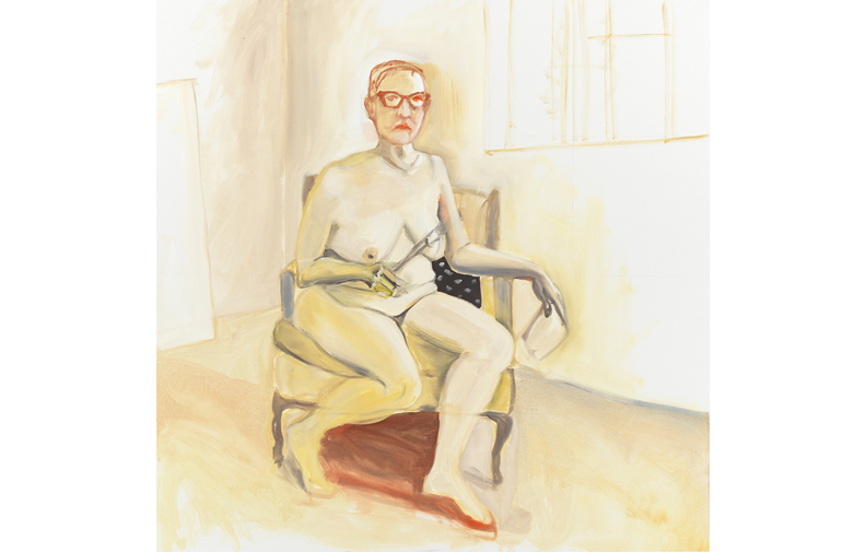 "Self-Portrait as a Painter (After Alice Neel) , 2018, oil on canvas, 48"" x 48"""