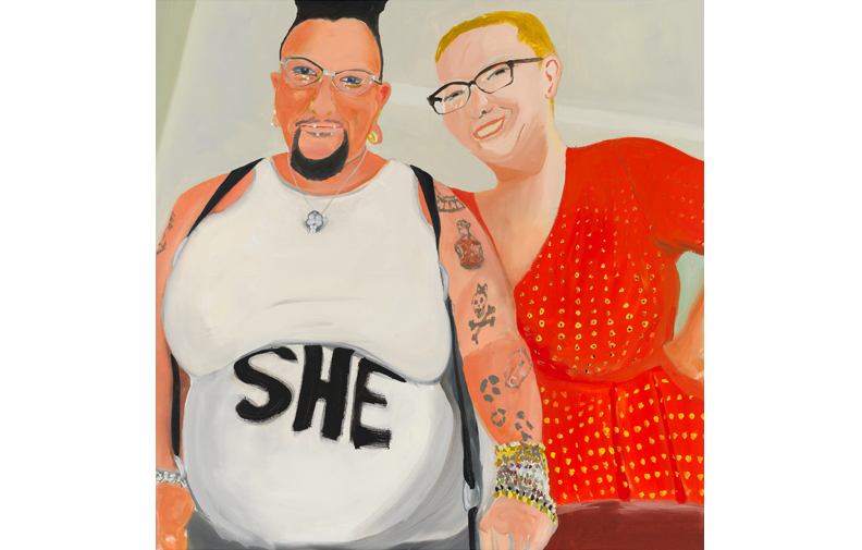 "Aimee and Health , 2018, oil on canvas, 45"" x 45"""