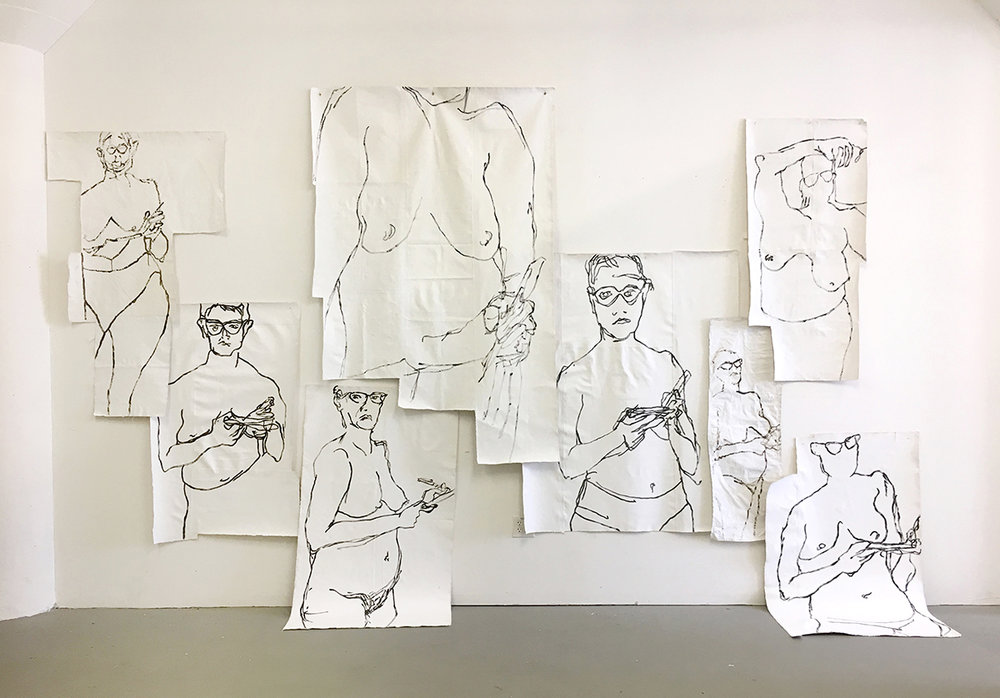 Untitled (Wall of Women)  , 2017, acrylic on unstretched canvas, approximate dimensions 15' x 13' x 4'  This project came out of several months of making daily self-portraits. These were quick drawings done each morning as a way of practicing seeing. As the drawings accumulated, I wanted to see them at a larger scale and in relation to one another. This is the installation that resulted.