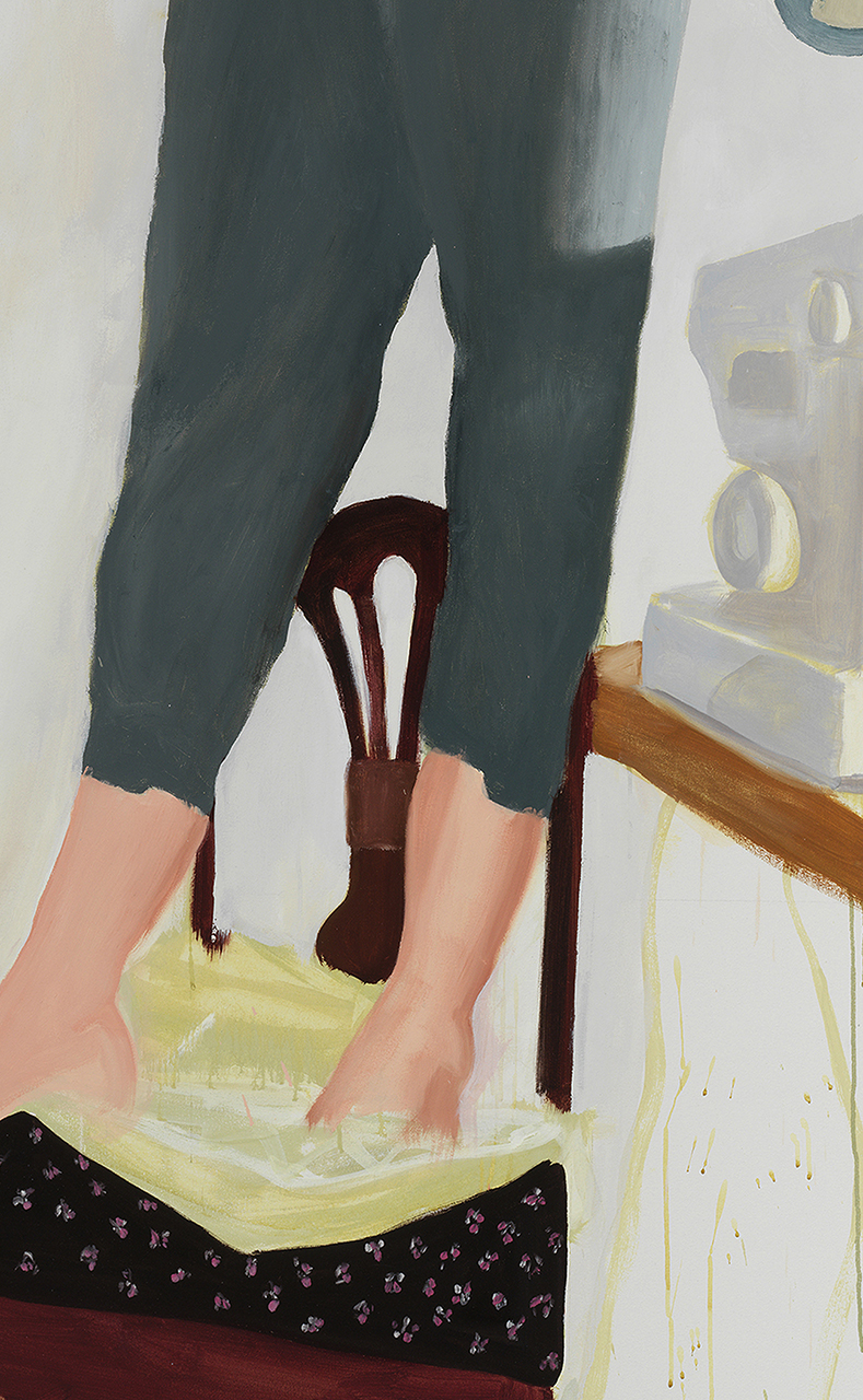 "Anastatia's Trousers , detail, 2018, oil on canvas, 90"" x 54"""