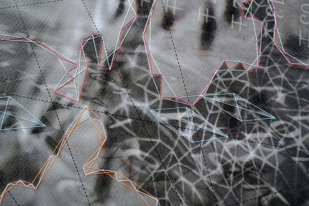 "Constellation KF (detail) Archival inkjet print on paper, ink, thread 18"" x 16"" 2014"