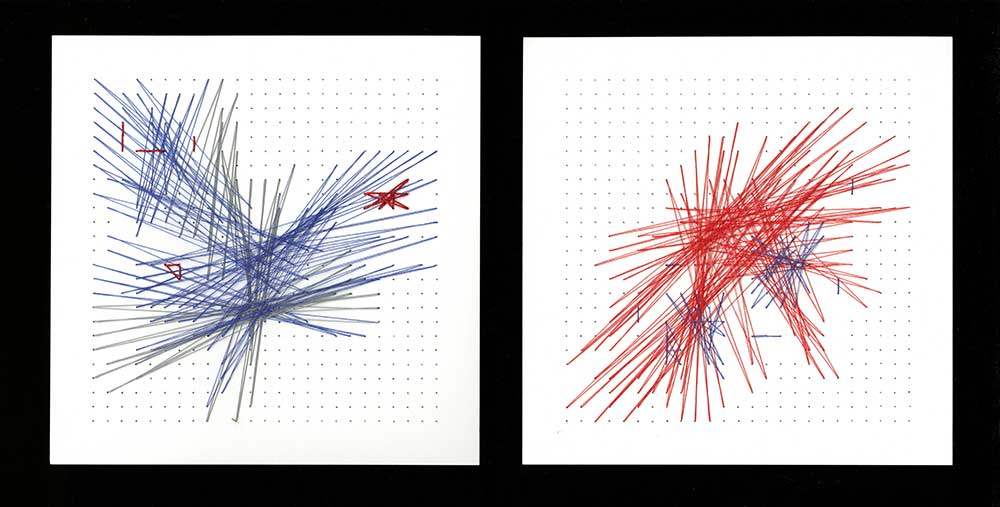 "Fractal Starburst Blue/Red Thread on paper 7"" x 7"" each 2011"