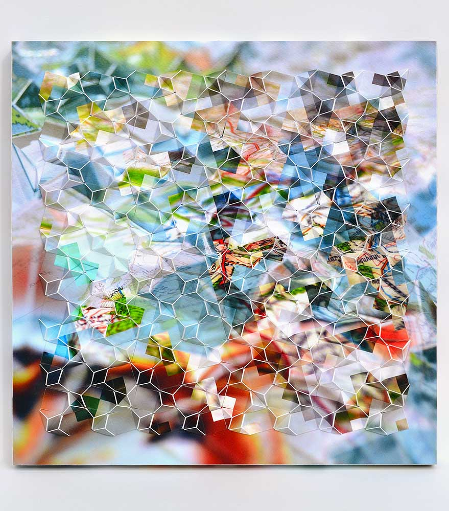 "Mapmaker's Dream V Archival inkjet prints mounted on board 12"" x 12"" x 1.25"" 2017"