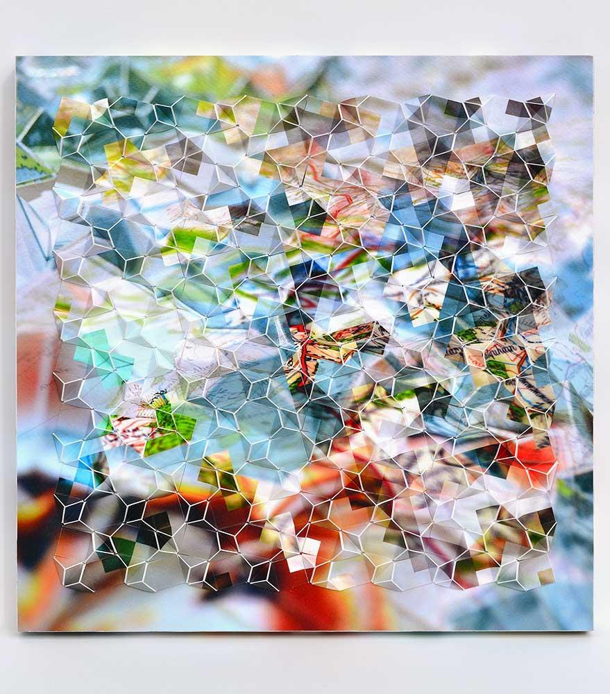 """Werner Sun   Mapmaker's Dream V , 2017 Archival inkjet prints on board 12"""" x 12"""" x 1.5"""""""