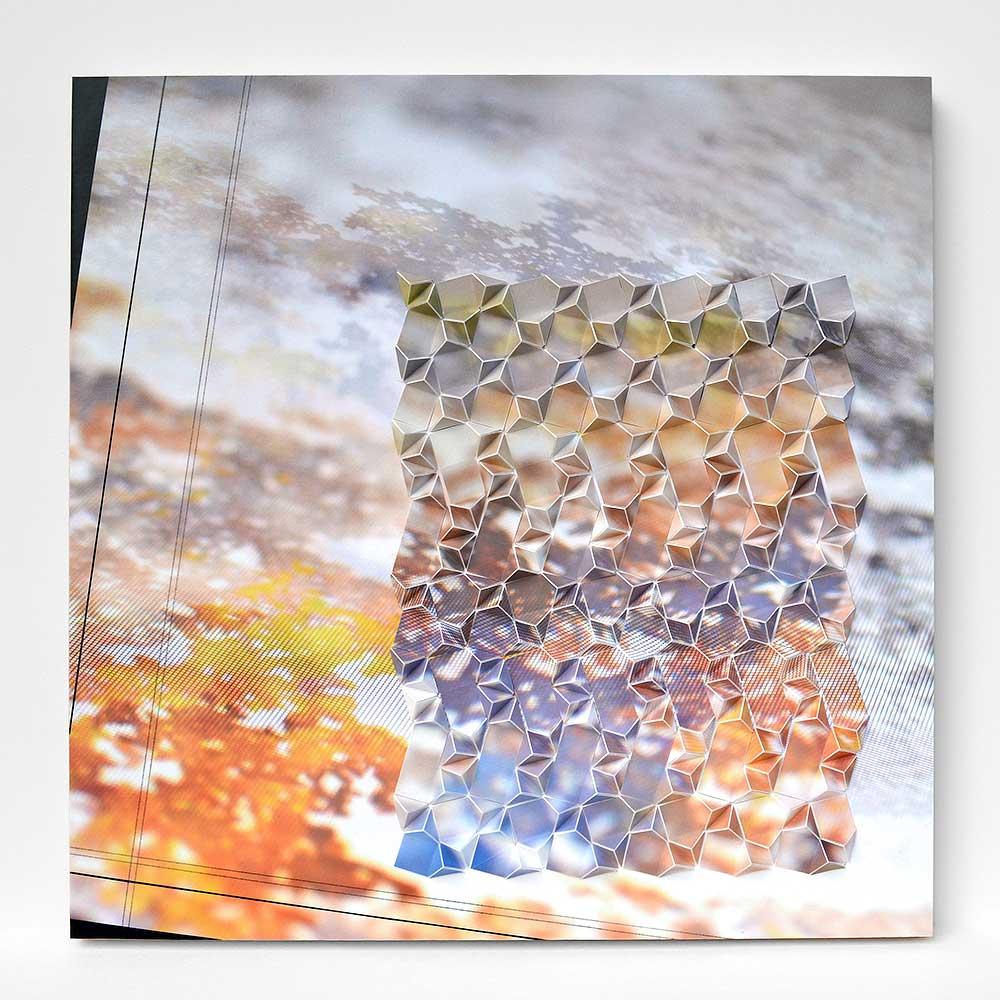 "Werner Sun   Mapmaker's Dream X , 2017 Archival inkjet prints, gel pen, paint pen, and vinyl on board 16"" x 16"" x 1.5"""