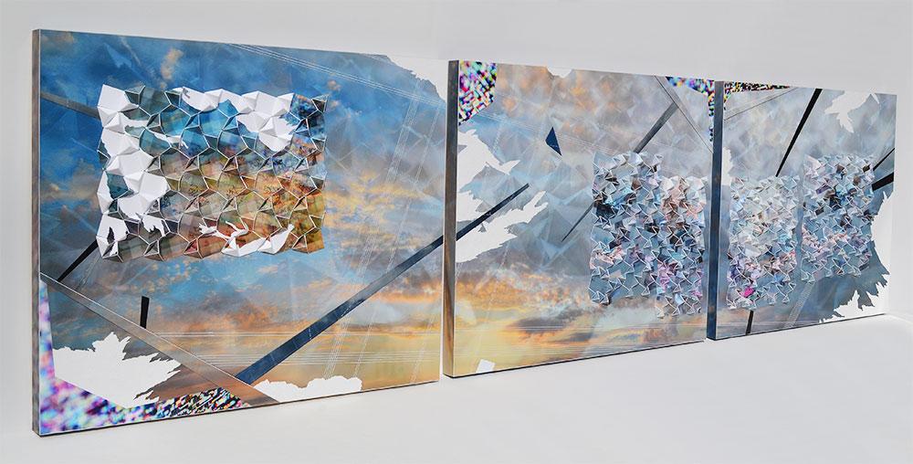 "Werner Sun   Mapmaker's Dream XI , 2017 Archival inkjet prints, gel pen, and vinyl on board 16"" x 62"" x 1.5"""
