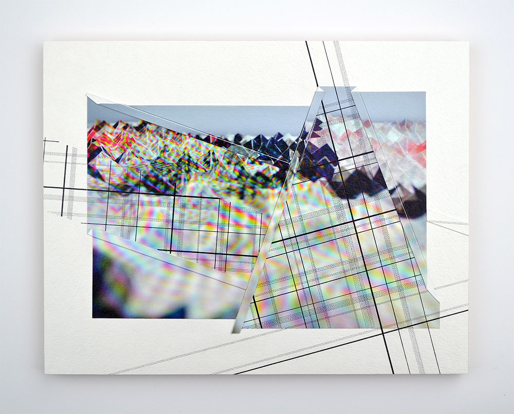 """Triangulation I Archival inkjet print and paper, ink 11"""" x 14"""" x 1"""" 2016"""
