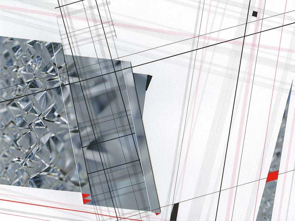 "Triangulation II Archival inkjet print and paper, ink, pencil 12"" x 16"" x 1"" 2016"