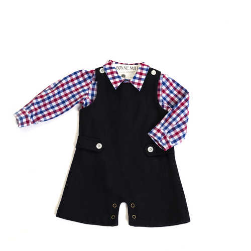 009ec1e49 boys navy wool romper with blue red check shirt — Bonne Nuit