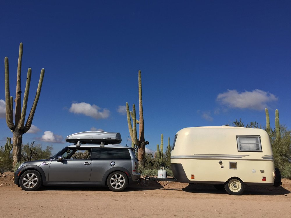 1971 Boler 1300, towed by Mini Cooper CLubman (Mini Cooper not for sale)