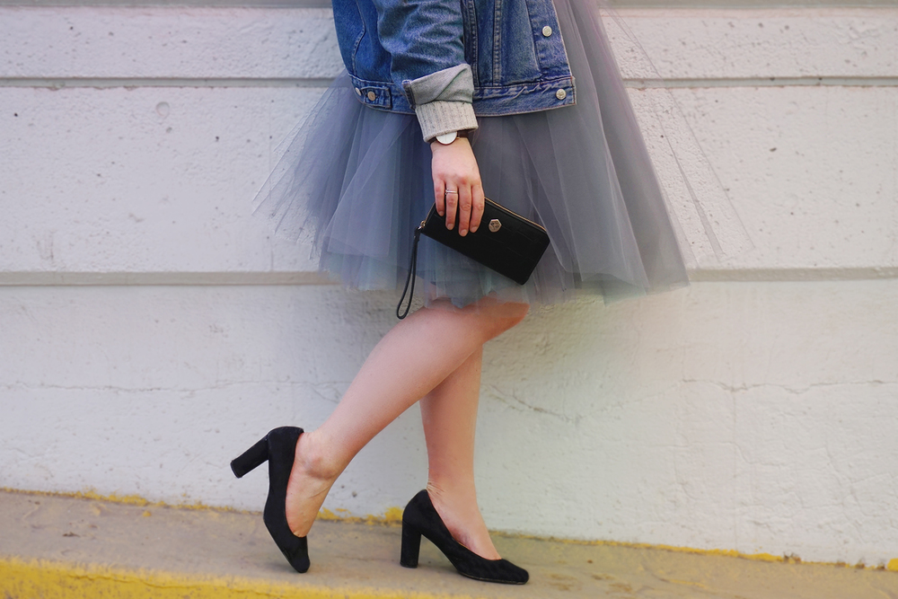 Grey and aqua tulle skirt