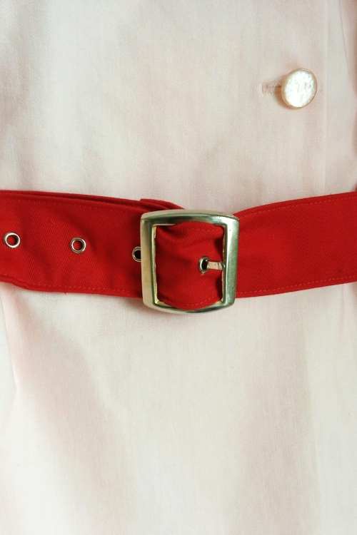Rockford Peaches Costume belt buckle close up. Made by Vertigo Go.