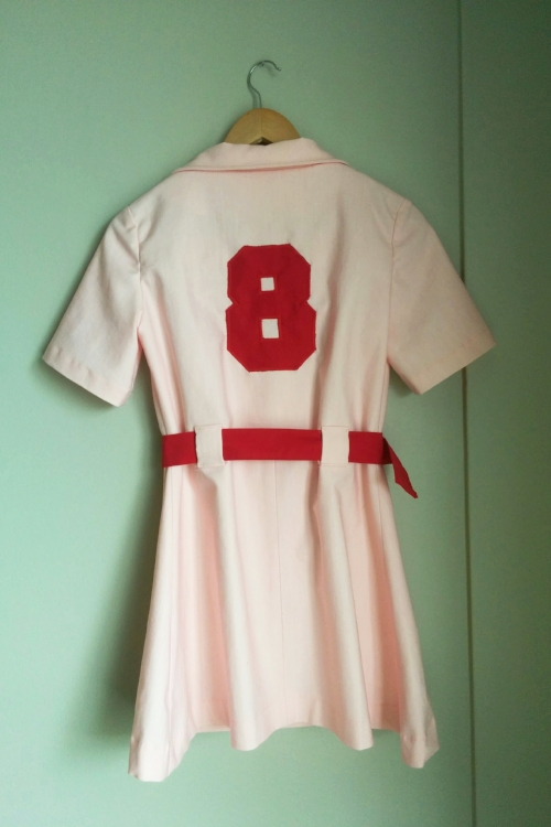 Rockford Peaches costume. Number patch details. Made by Vertigo Go.
