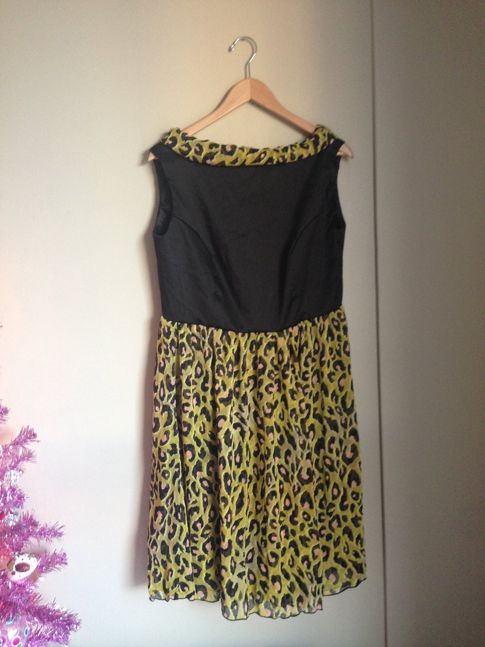 Vertigo Go Black & Leopard Print Dress