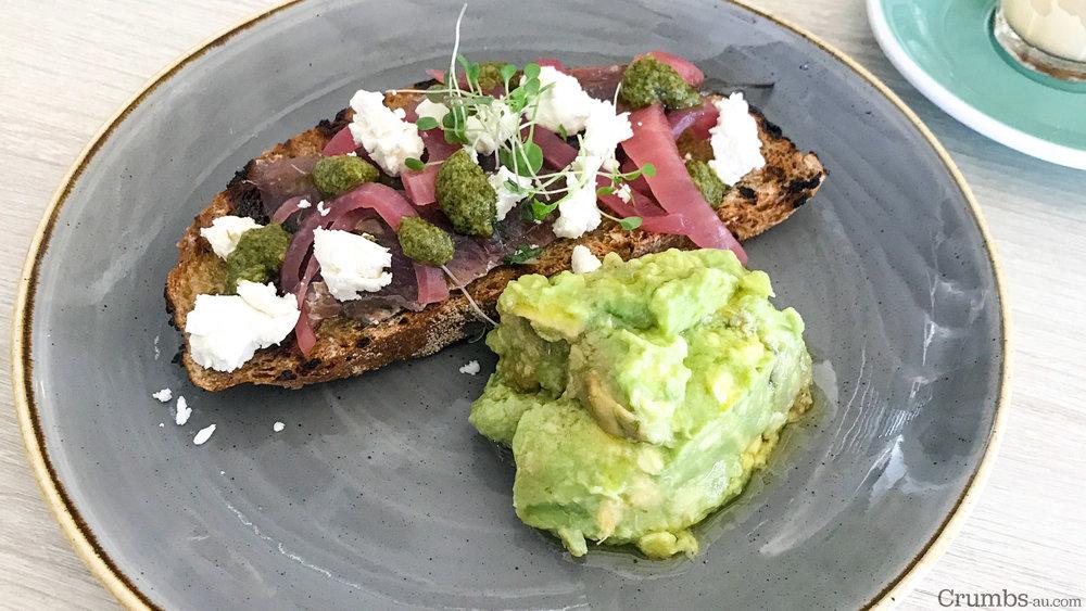 Bruschetta, Sardines, Avocado