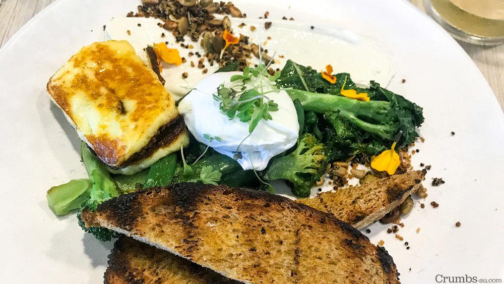 Sauteed Breakfast Greens, Halloumi