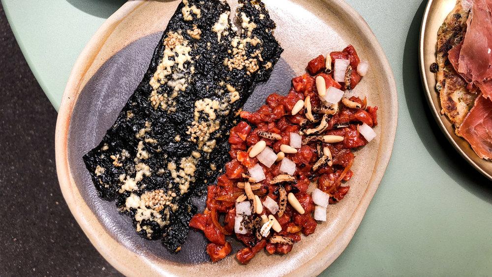 Korean beef tartare, nori crisp, pear, wild rice and pine nut