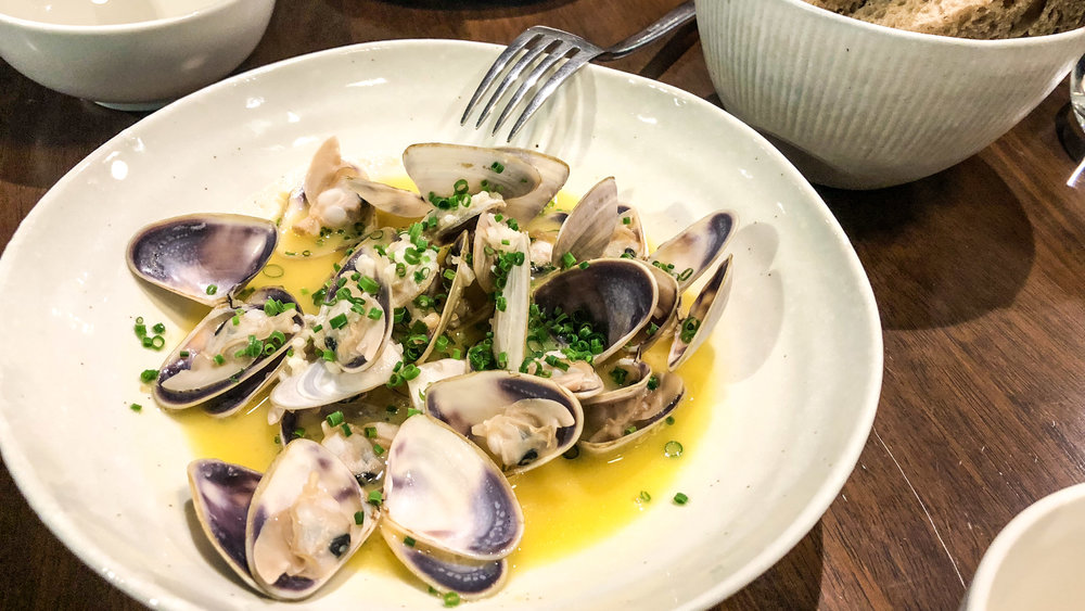 Steamed pipis, buttered miso, rye