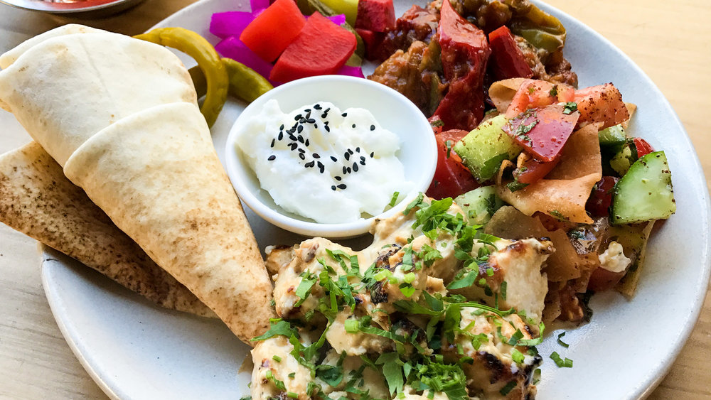 cairo_takeaway_enmore_newtown_king_st_egyptian_street_food_eggplant_pickles_mixed_charcoal_chicken_plate_fattoush_salads_toum