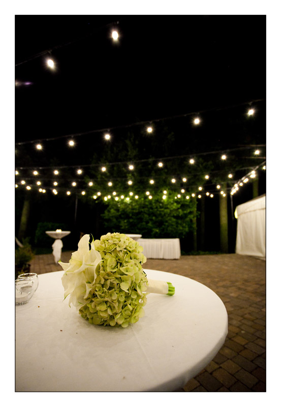Wedding under white lights