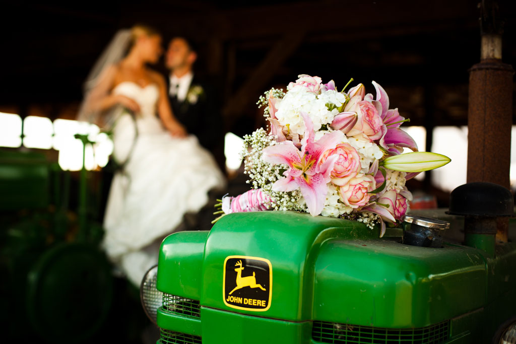 Bride and Groom on a John Deere