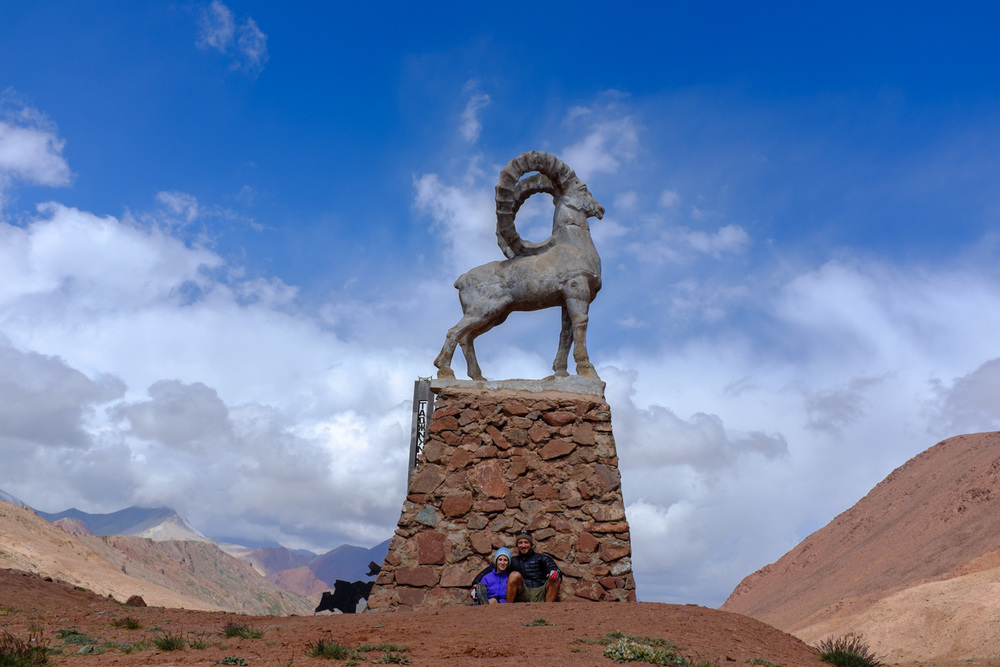 A statue of a Marco Polo sheep marking our arrival in Tajikistan