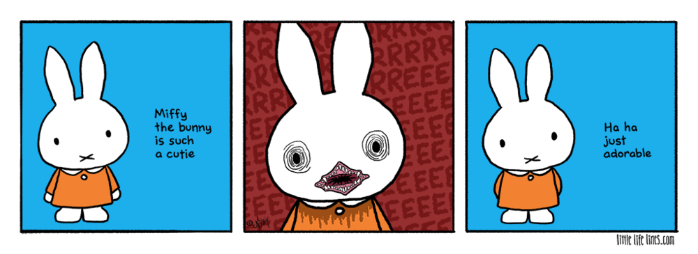 Cartoon Miffy has a mouth on her © little life lines comic by Nick Birch