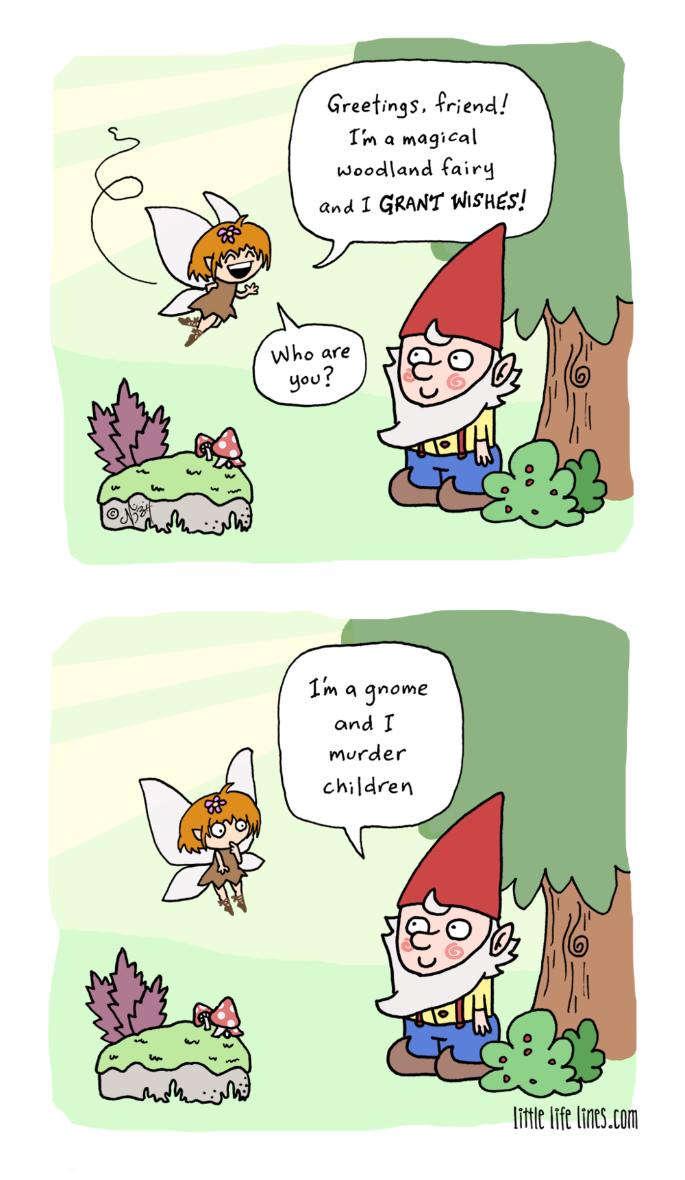 Cartoon Magical woodland fairy creature that grants wishes meets a homicidal gnome © little life lines comic by Nick Birch