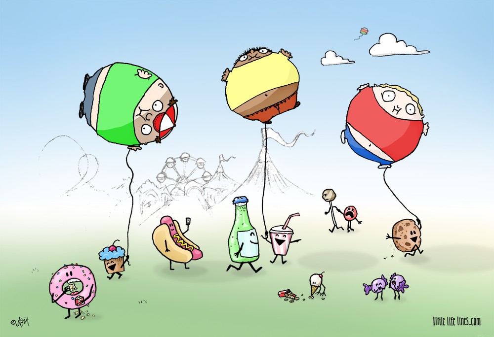 Cartoon Junk food with fat kid balloons ©little life lines comic by Nick Birch