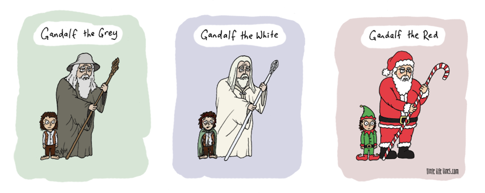 Lord of the Rings Gandalf the Grey White Red is Santa Frodo elf