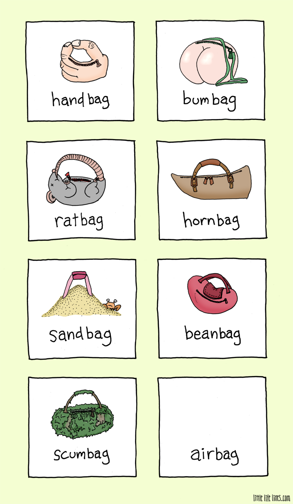 different kinds of bags