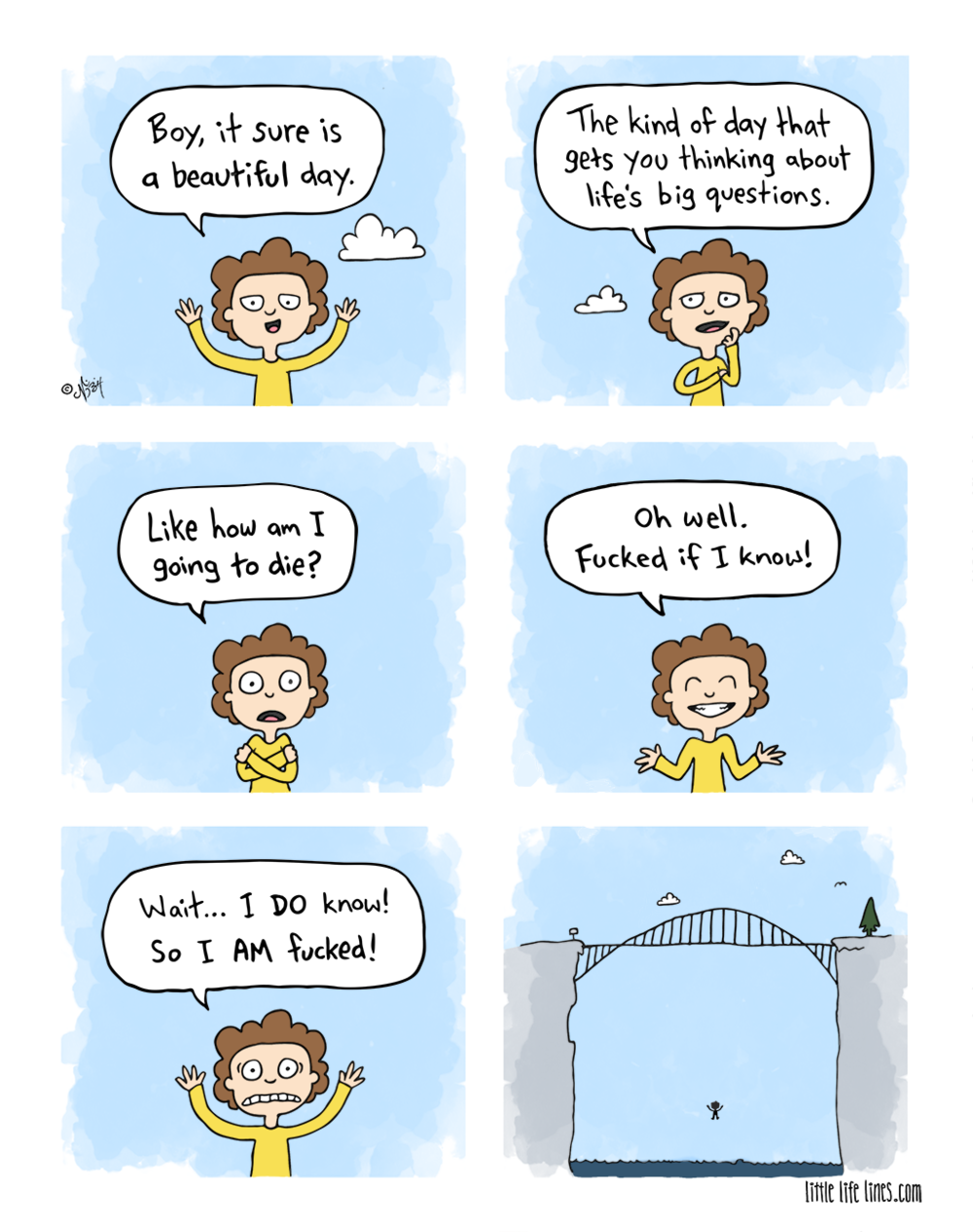 Cartoon Thinking about life's big questions like how am I going to die but fucked if I know © little life lines comic by Nick Birch