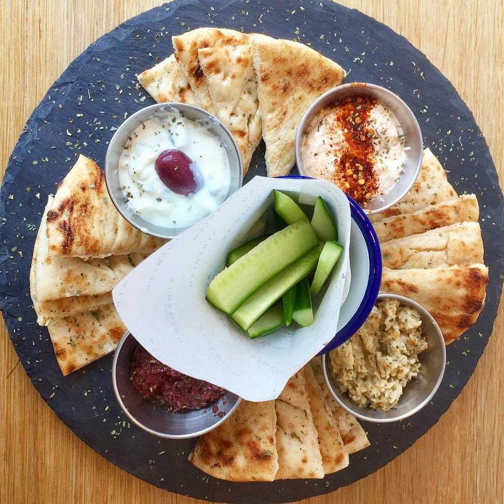 The word meze means a selection of dishes typically served as an appetiser, usually to be shared.