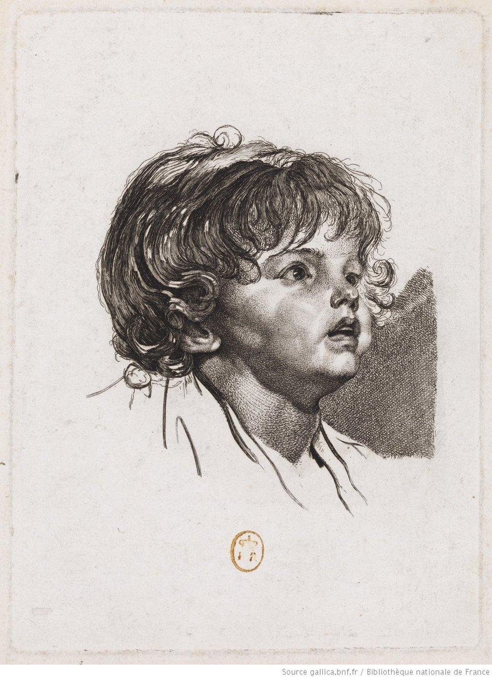 Enfant Surpris  (1770). Grafik von Carl Wilhem Weisbrod.