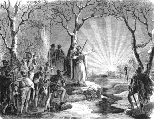 Stich des Sonnenaufgangs aus dem dritten Akt von Giacomo Meyerbeers  Le Prophète  (1850).