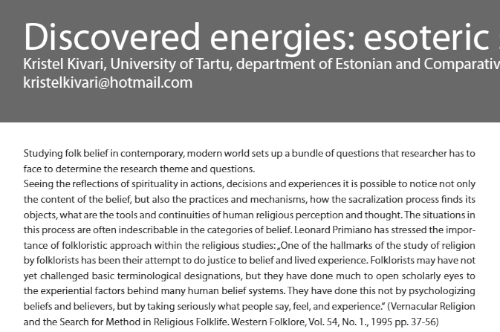 2014 Discovered energies, Kristel Kivari. Esoteric sensations in Estonian sights