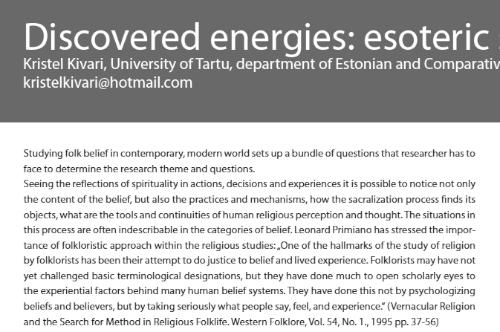 2014 Discovered energies, Kristel Kivari.Esoteric sensations in Estonian sights