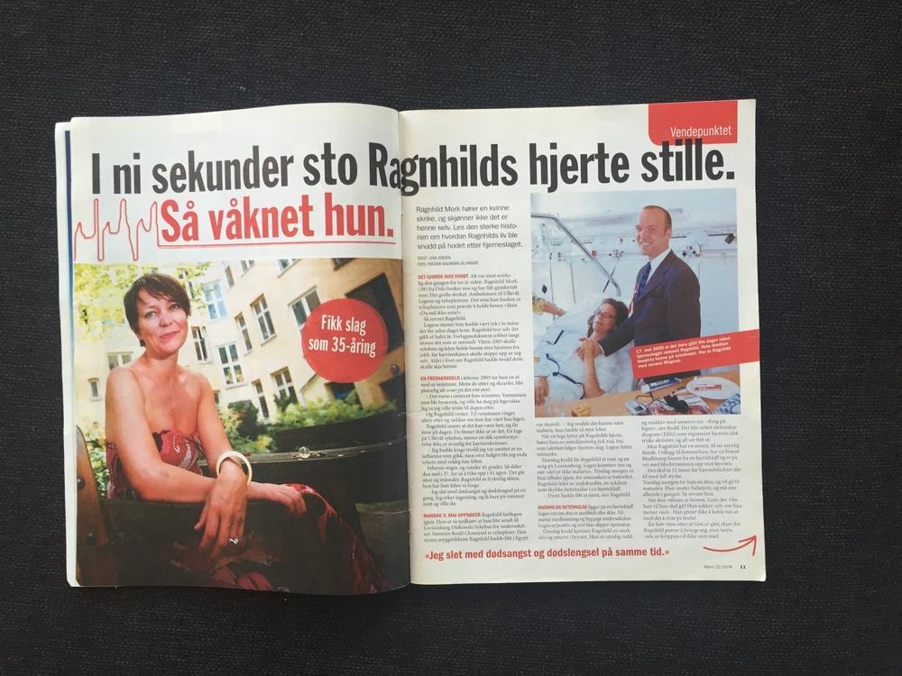 Allers, 4. august 2008:Det 4-siders intervjuet:I ni sekunder sto Ragnhilds hjerte stille. Så våknet hun.