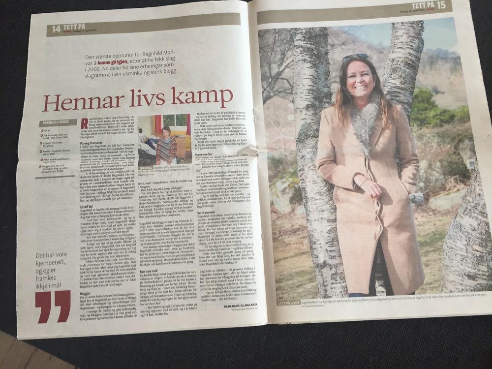 Lokalavisa N O R D R E, den 10. april 2015, 2-sidig intervju:Hennar livs kamp.