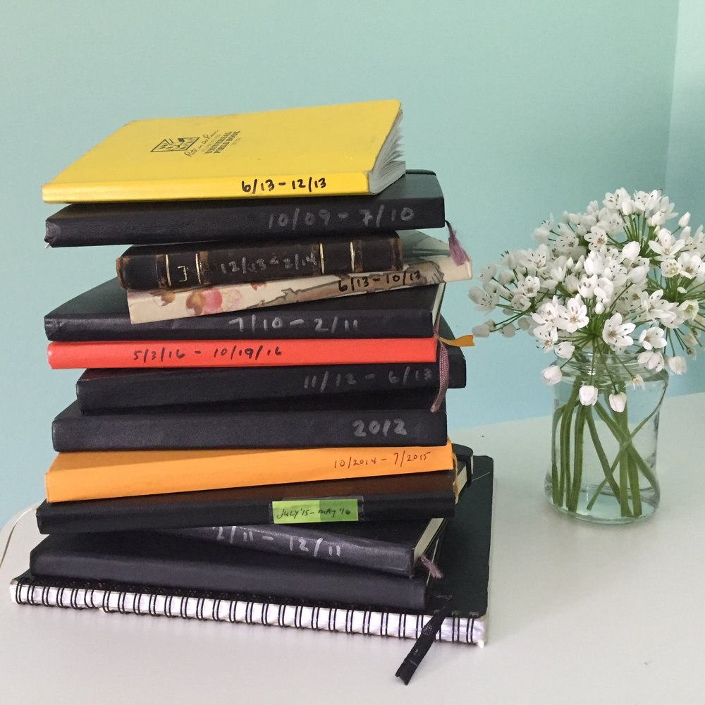 My journals from the last handful of years -- some of which traveled with me, or were picked up, on my sabbatical year (hence some of the non-Moleskine choices).