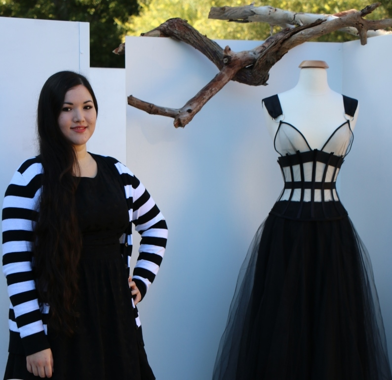Jessica Jones with an early prototype for her Perth Fashion Festival Future Runway entry