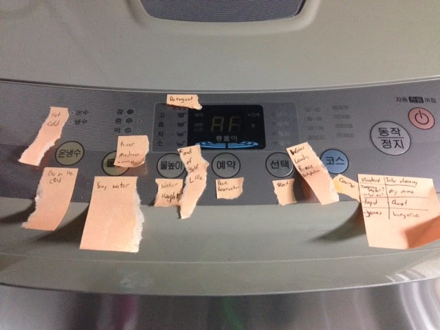 We would be seriously lost without the post-its on our washing machine.