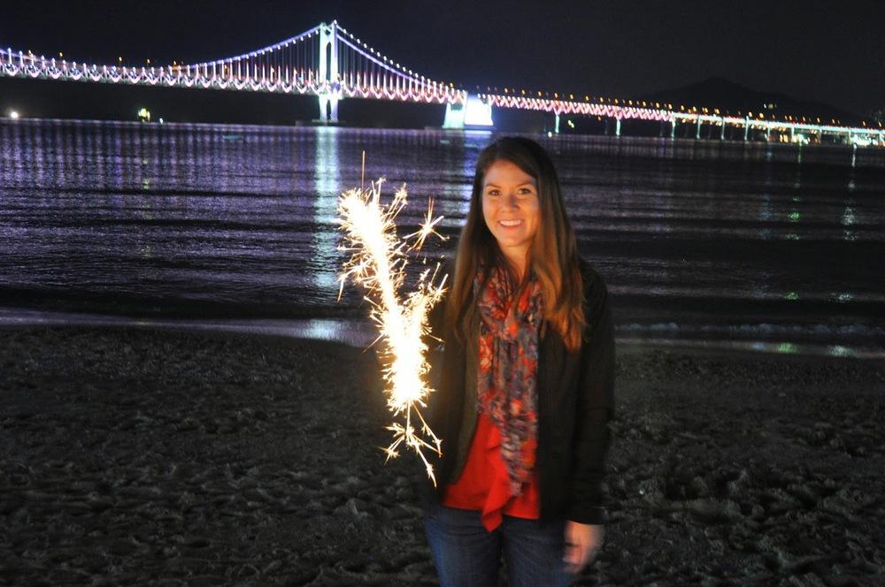 Gwangalli Beach sparklers