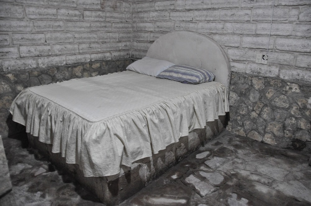 This is our salty room. The only things that weren't made of salt were the toilet, sink and mattress!
