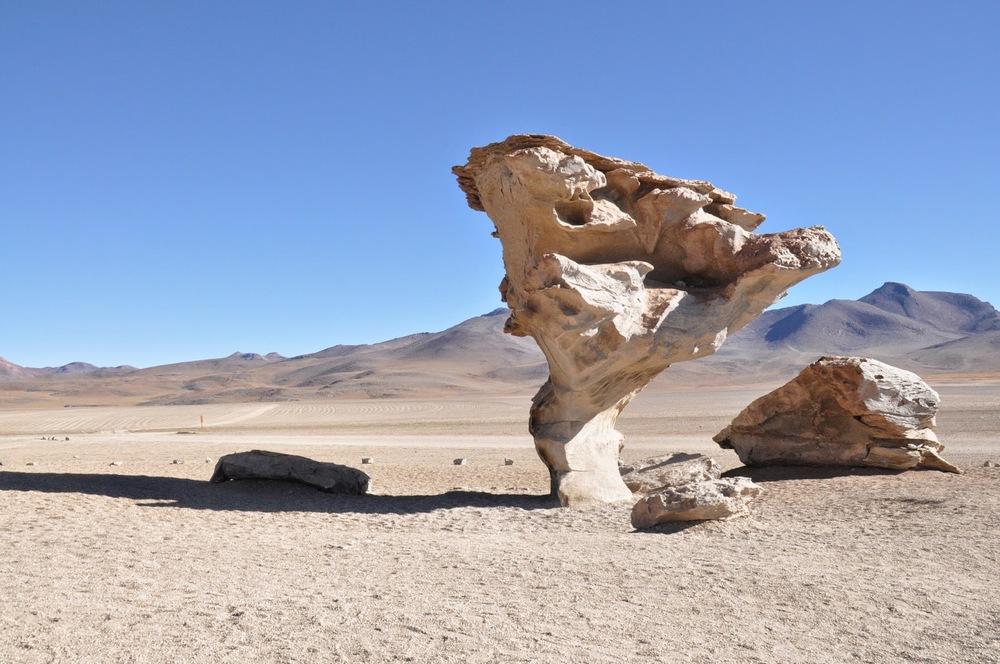 "Famous ""tree"" rock formation in Salar de Uyuni"