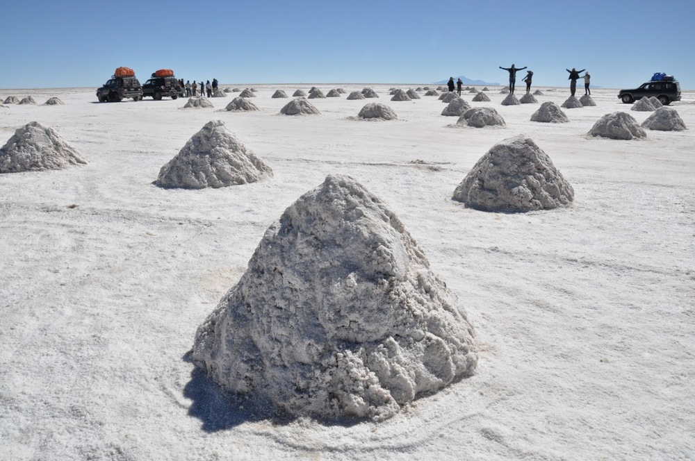 These mounds of salt are a result of the mining process.
