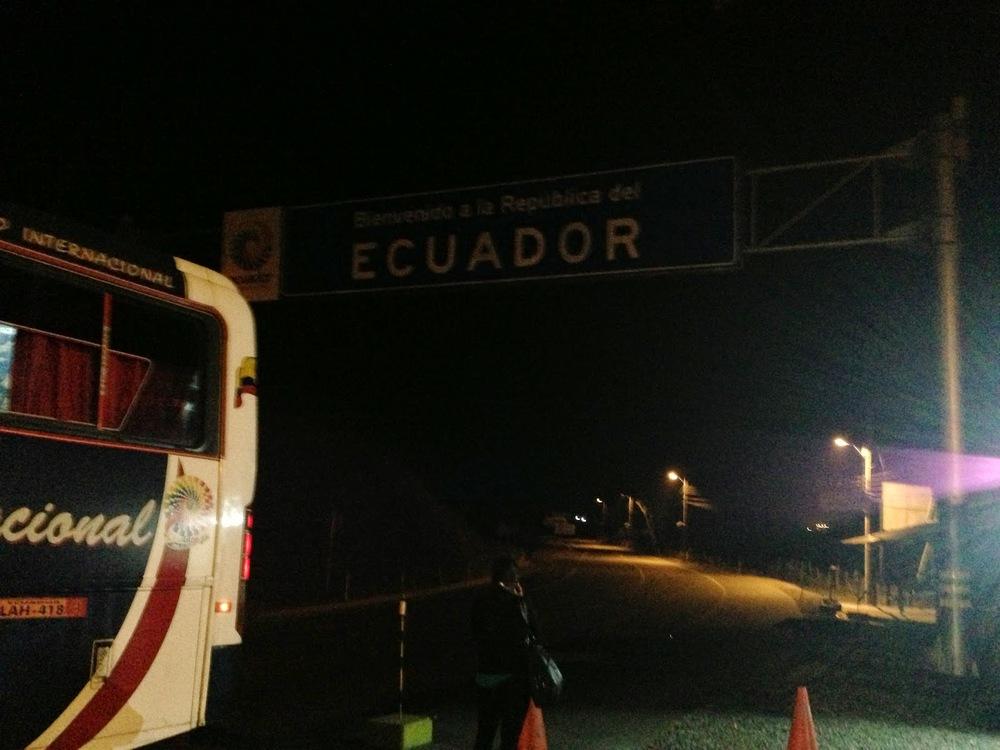 Border Crossing Ecuador to Peru Border Sign