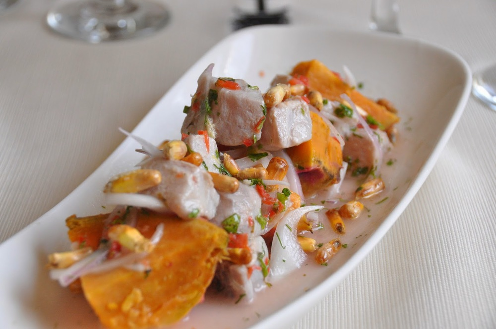 Ceviche with mahi mahi and sweet potatoes
