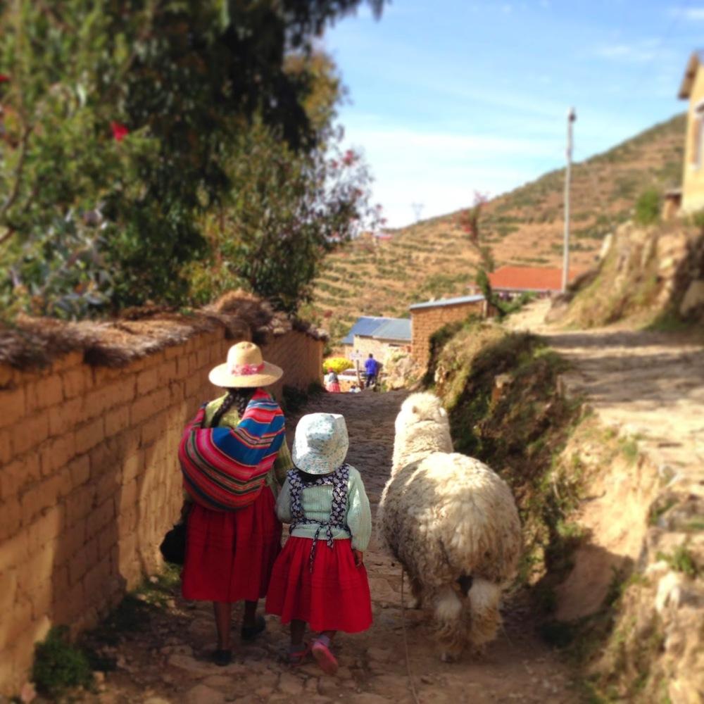 Lake Titicaca Local Women and Llama