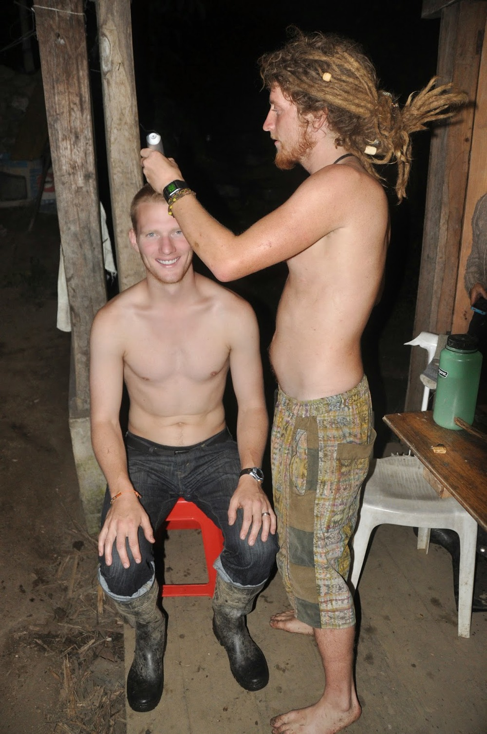 Oh, and on our last night, Nick shaved off the rest of Ben's Mohawk. He looks pretty happy about it!